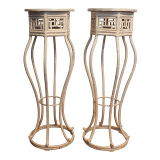 Vintage Chinese Chippendale Bamboo Pedestals - A Pair