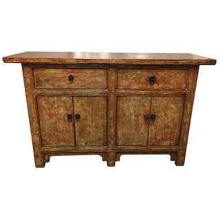 Vintage Asian-Style Distressed Sideboard