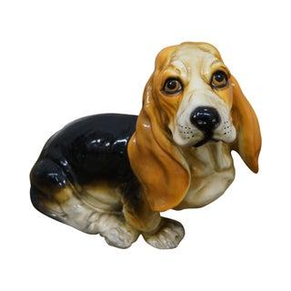 Transitional Pottery Basset Hound Puppy Statue