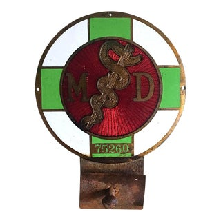 1920s Doctors License Plate Topper, Vintage Medical MD Collectible, Antique Medicine
