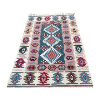 Anatolian Kilim Rug, Natural Dyes - 4′1″ × 6′2″
