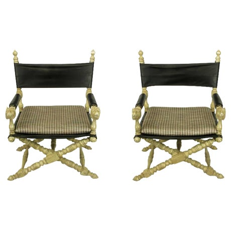 Pair Driftwood Oak & Black Leather Carved Lion Head Campaign Chairs - Image 1 of 10