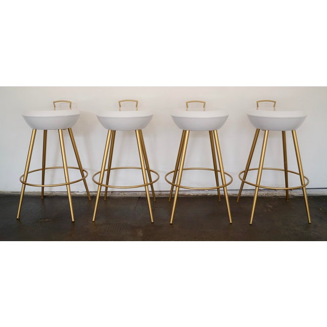 Mid-Century California Modern Bar Stools - Set of 4 - Image 5 of 11