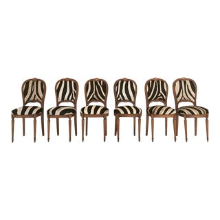 Maison Jansen Louis XVI Dining Chairs in Zebra Hide - Set of 6