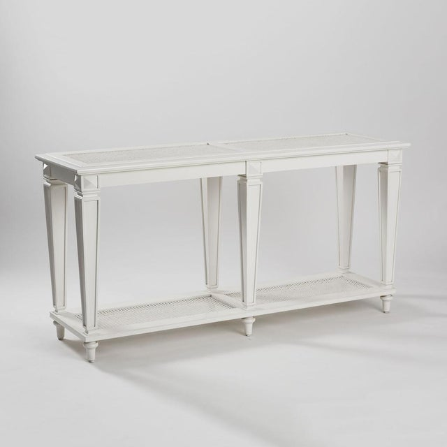 New White Caned Console Table - Image 4 of 5