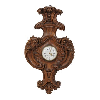 French 18th Century Carved Wood Wall Clock Signed Gille L'Aîné