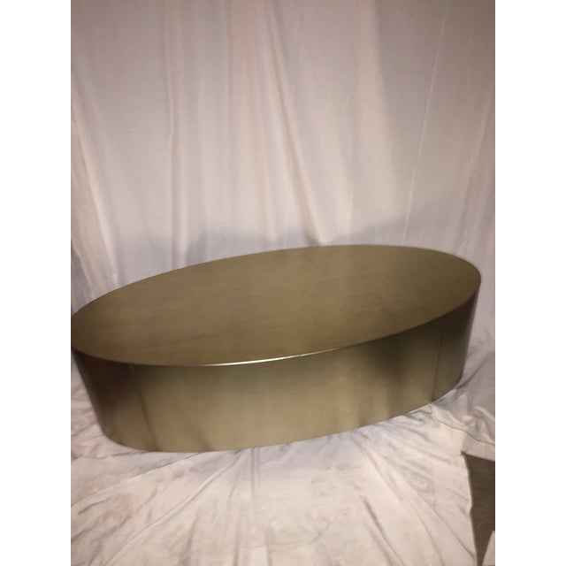 Hollywood Regency Gold Leaf Oval Coffee Table - Image 10 of 11