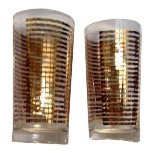 Mid-Century Gold Striped Drinking Glasses - A Pair