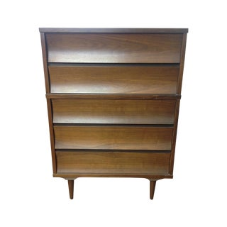 Mid-Century Sculpted Wood Tall Boy Dresser