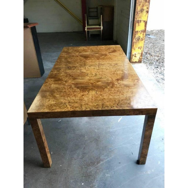 Milo Baughman for Directional Burl Wood Parsons Dining Table with Two Boards - Image 7 of 10