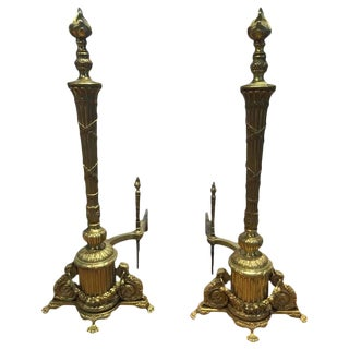 19th Century French Regency Brass Andirons - A Pair