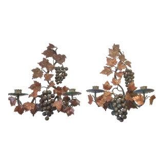 Polychrome Painted Tole Grape Candle Sconces - A Pair
