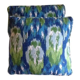 Vintage Ikat Blue & Green Pillows - A Pair