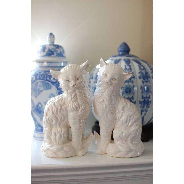 Vintage White Porcelain Cats - A Pair - Image 6 of 8