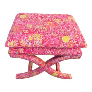 Lilly Pulitzer Upholstered X Bench New Furniture