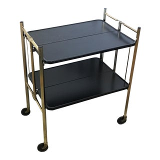 Mid-Century Brass & Black Bar Cart