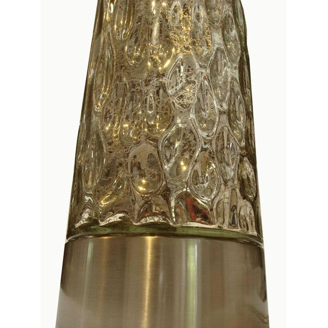 Modern Textured Metallic Glass Table Lamp - Image 3 of 6