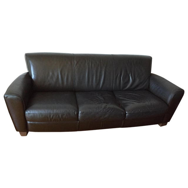 Image of Black Leather Natuzzi Couch