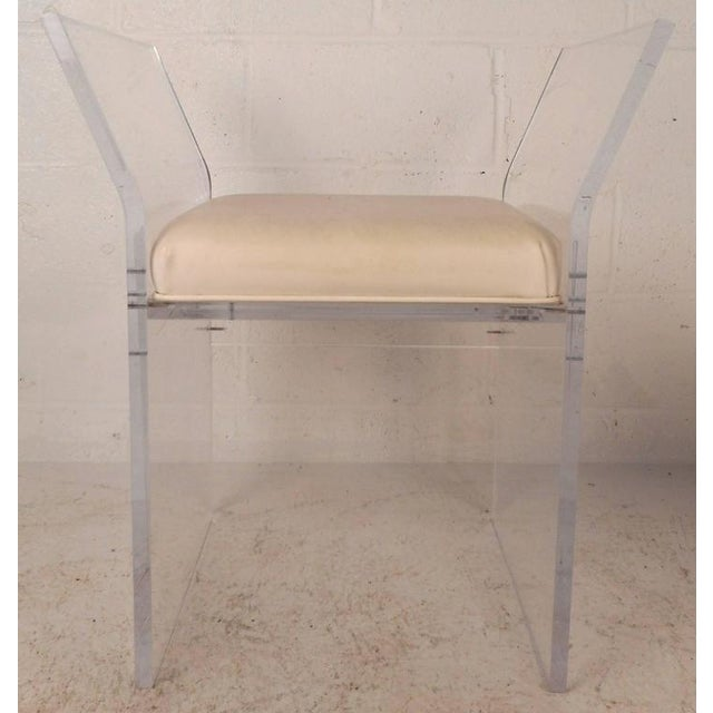 Mid-Century Modern Vinyl and Lucite Bench - Image 4 of 6
