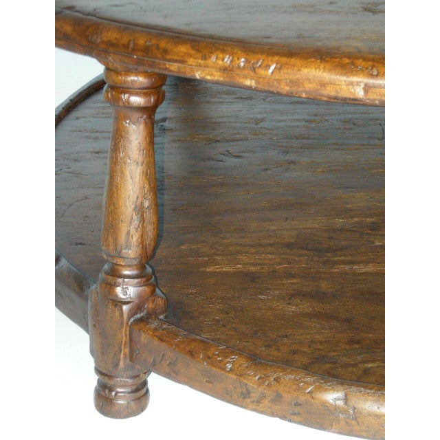 Custom Walnut Wood Round Colonial Coffee Table With Shelf - Image 10 of 10