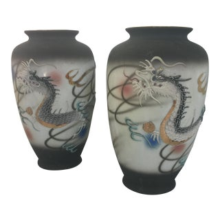 Raised Painted Dragons Japanese Vases - A Pair