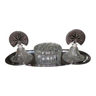 Art Deco Style Glass Dresser Set with Tray