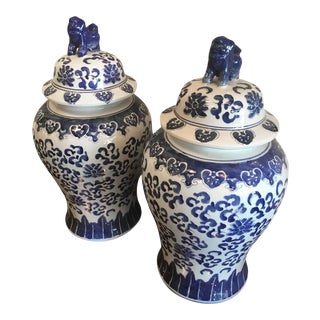 Vintage Blue and White Foo Dogs Ginger Jars - a Pair
