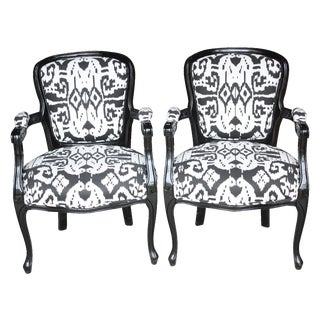 Black Lacquer Ikat Chairs - A Pair