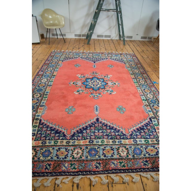 "Vintage Red & Blue Moroccan Rug - 6'8"" X 9'6"" - Image 3 of 9"