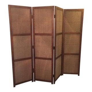 Mid-Century Modern 4-Panel Room Divider Screen