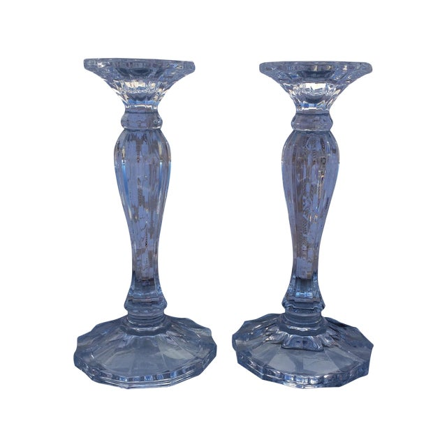 Crystal Candle Sticks - Pair - Image 1 of 4