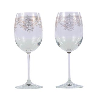 Vintage Wine Glasses With Gold Etched Design - A Pair