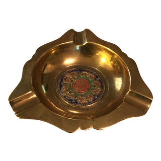 "Chinese ""Luck"" Brass & Enamel Ashtray"
