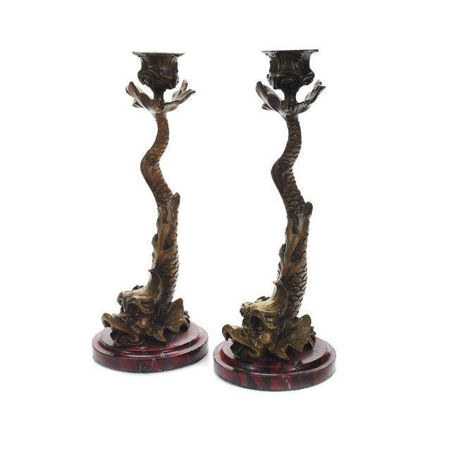 """Antique Bronze Dolphin 10"""" Candle Sticks - 2 - Image 2 of 9"""