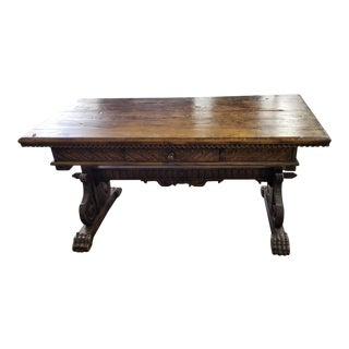 Antique Italian Renaissance Style Walnut Console or Writing Table