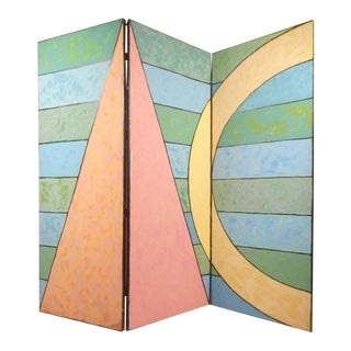 Large Mid-Century Modern Painted Room Divider Three Panel Screen