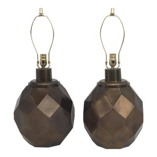 Pair Giant Goemetric Lamps in Patinated Bronze Finish