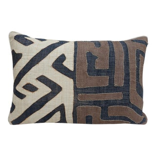Wheat, Brown & Black African Cloth Kuba Pillow