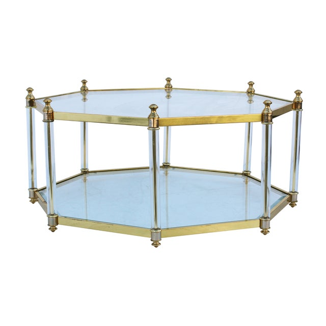Octagonal Lucite And Brass Coffee Table Chairish