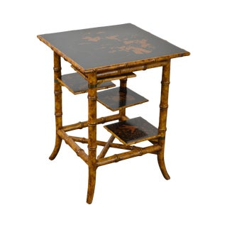 Maitland Smith Faux Bamboo Square Tiered Side Table