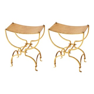 Gold Leaf Iron Occasional Benches - A Pair
