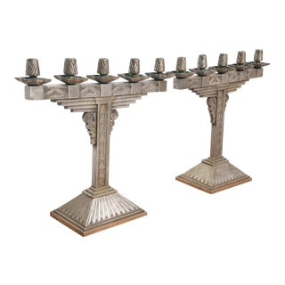 Pair of Art Deco Silvered Bronze Five-Light Candelabra