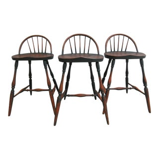 Set of 3 Custom R. Hofer Winsor Back Counter Bar Stools