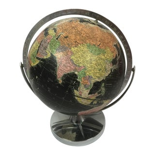 Vintage Black World Globe with Silver Stand