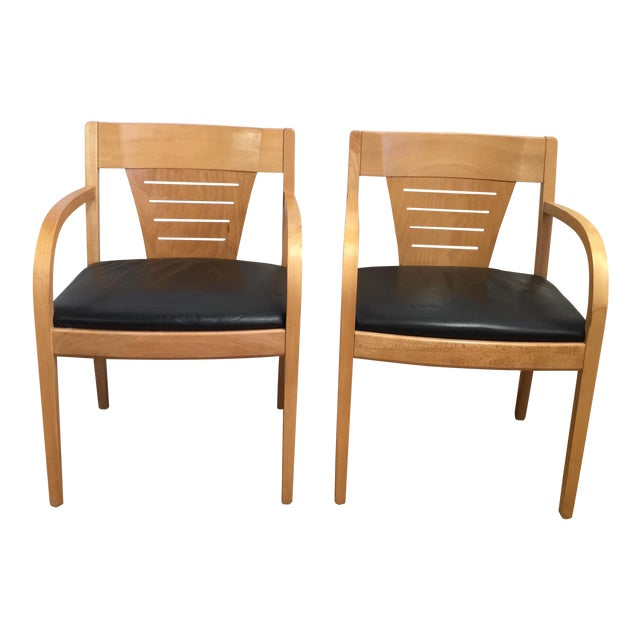 Bentwood and Leather Vecta Arm Chairs - Pair - Image 1 of 9