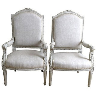 Light Gray French Armchairs - A Pair