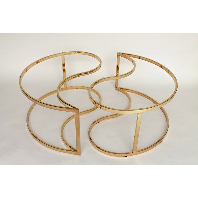 Image of Yin Yang Brass & Glass Side Tables - A Pair