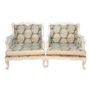 Vintage Taupe & Ivory Italian Club Chairs - A Pair