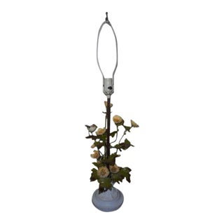Italian Bird Floral Tole Lamp