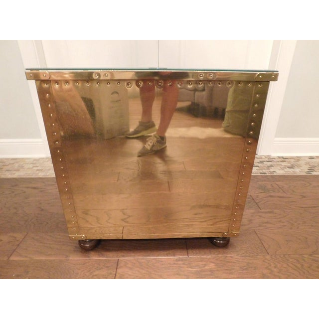 Serreid LTD Vintage Brass Nightstand - Image 5 of 11